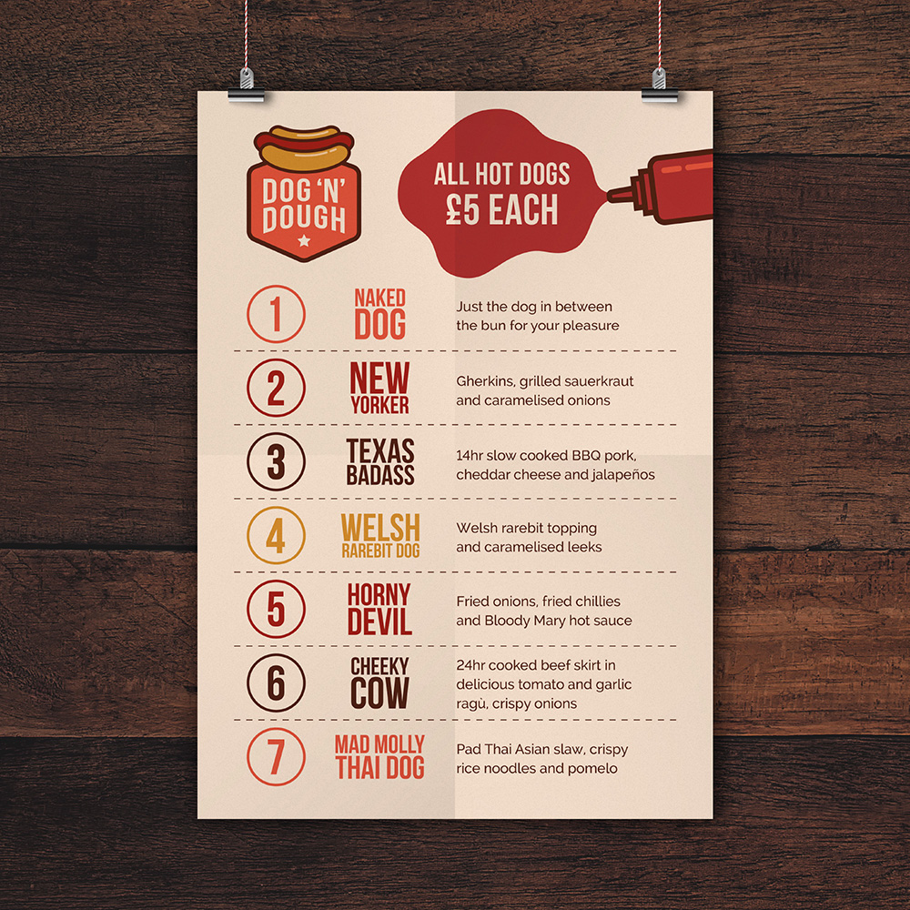 Dog N Dough Menu Design