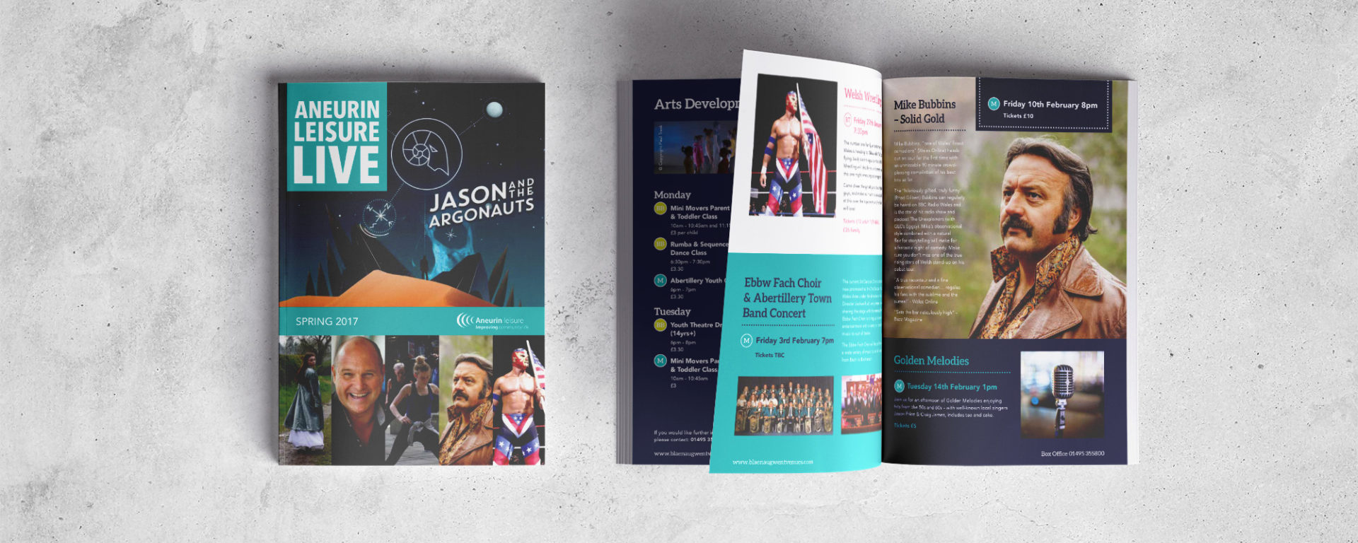 Aneurin Leisure Live Brochure Design