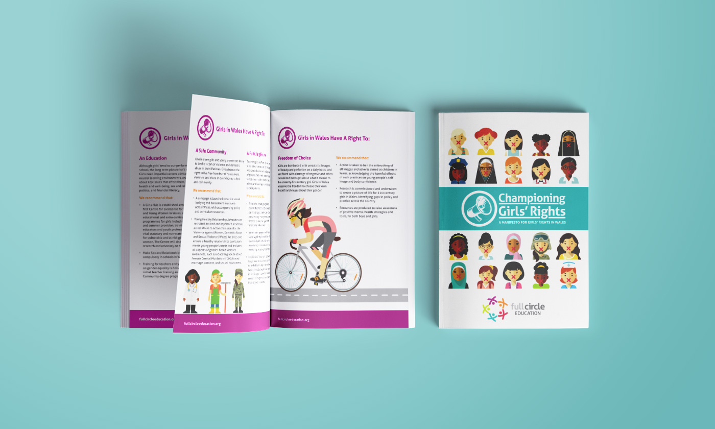 Full Circle Education Girls Rights Manifesto Brochure Design